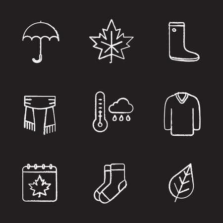 Autumn chalk icons set. Umbrella, warm socks, maple leaf, watertight, scarf, sweater, autumn weather and calendar. Isolated vector chalkboard illustrations Ilustrace