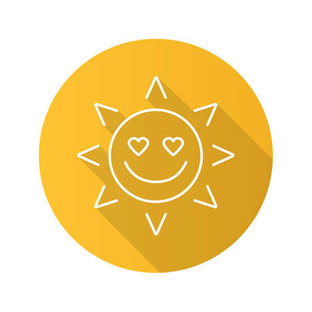 In love sun smile flat linear long shadow icon. Good romantic mood. Vector outline symbol