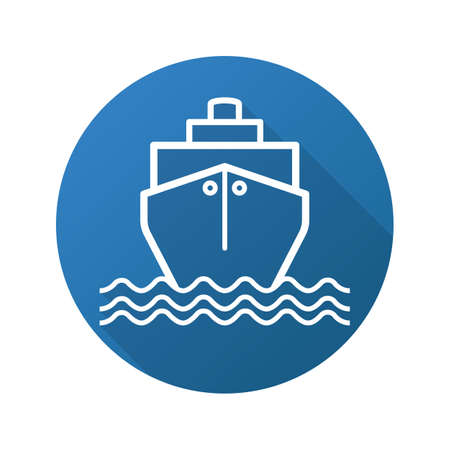Cruise ship flat linear long shadow icon. Vector outline symbol