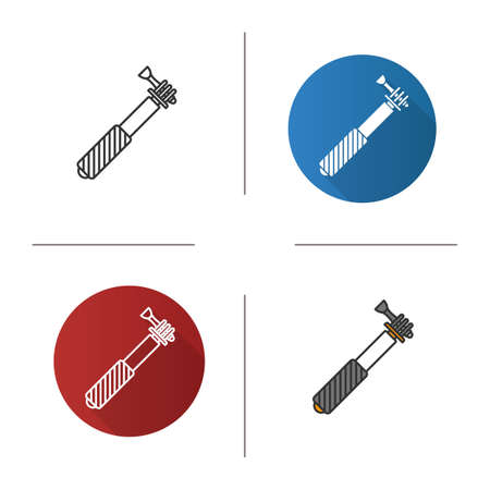 Monopod icon. Flat design, linear and color styles isolated vector illustrations
