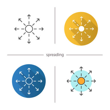 Spreading icon - Distribution abstract metaphor. Flat design, linear and color styles isolated vector illustrations