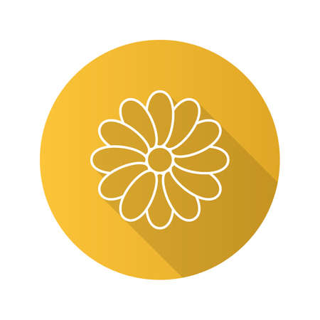 camomile tea: Chamomile head flat linear long shadow icon. Vector outline symbol Illustration