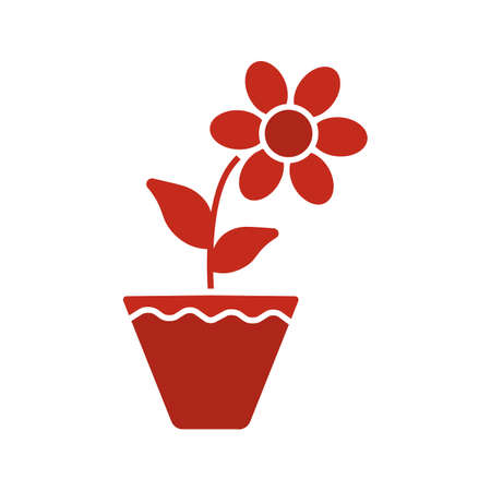 Crocus in flowerpot glyph color icon. Silhouette symbol on white background negative space Vector illustration Illustration