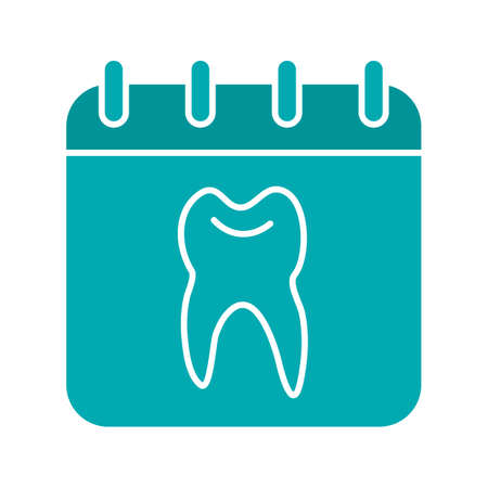 Dentist reception days glyph color icon. Calendar page with human tooth inside. Silhouette symbol on white background negative space Vector illustration