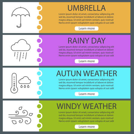 rainy season: Autumn weather web banner templates set. Umbrella, thermometer with rainy cloud, wind blowing. Website color menu items with linear icons Vector headers design concepts Illustration