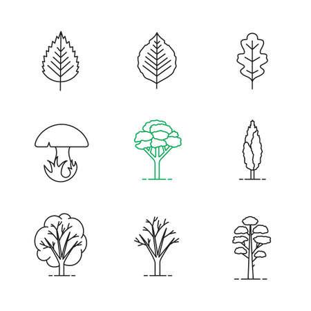 Iconos lineales de árboles establecidos