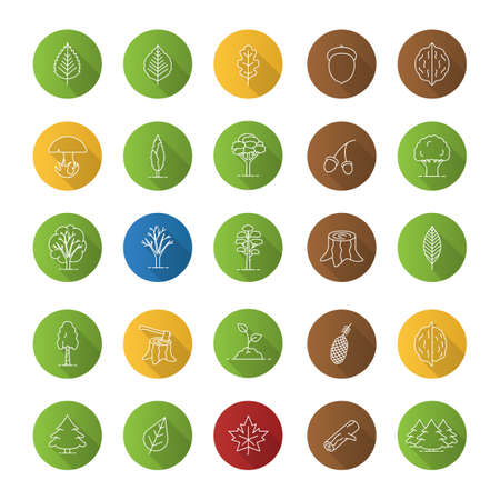 Tree types icons set Illustration