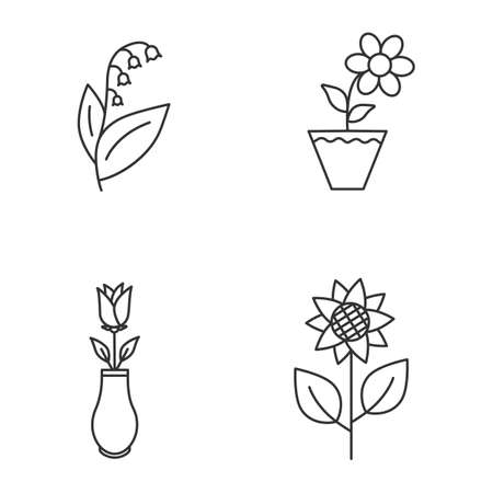 Flowers linear icons set.