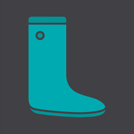 Gumboot glyph color icon. Rubber boot. Silhouette symbol on black background. Negative space. Vector illustration Ilustrace