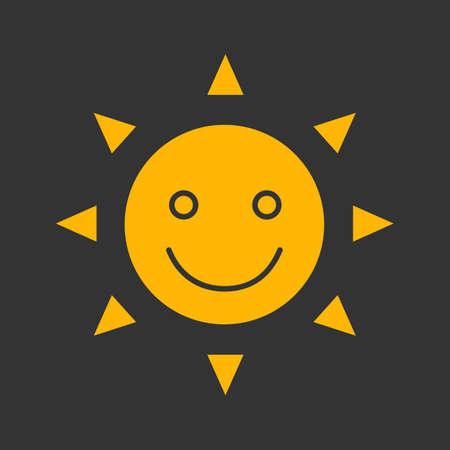 Glückliches und lustiges Sonnenlächeln Glyph Farbsymbol