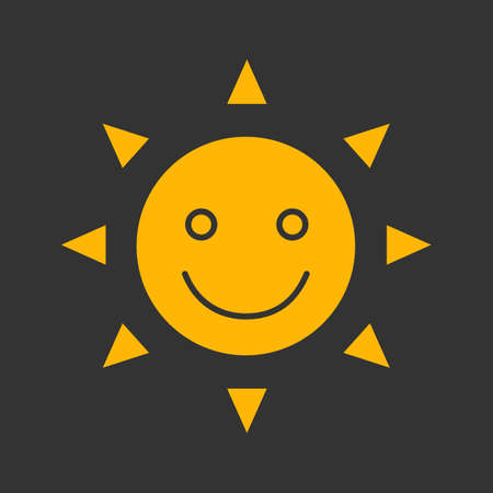 Happy and funny sun smile glyph color icon