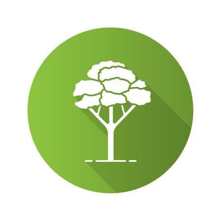 Maple tree flat design long shadow glyph icon.