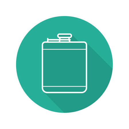 Hip flask flat linear long shadow icon.
