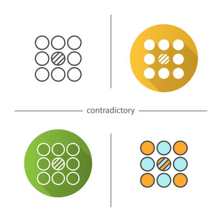 conflicting: Contradictory symbol icon. Flat design, linear and color styles. Isolated vector illustrations