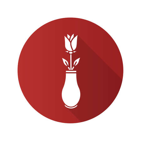 Rose in vase flat design long shadow glyph icon. Vector silhouette illustration