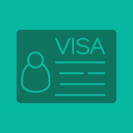 Travel visa glyph color icon. Silhouette symbol. Negative space. Vector isolated illustration