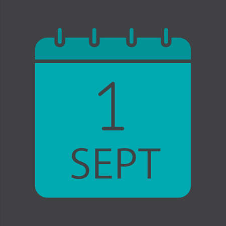 September 1st date glyph color icon. Back to school. Silhouette symbol on black background. Negative space. Vector illustration Illustration