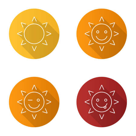 Sun smiles flat linear long shadow icons set. Smiling, yummy and winking sun smiles. Vector outline illustration