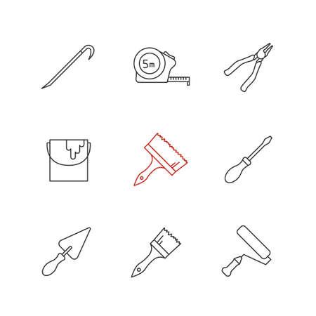 Construction tools linear icons set. Crowbar, paint brushes, roller and bucket, measuring tape, pincers, screwdriver, triangular shovel. Thin line. Isolated vector outline illustrations