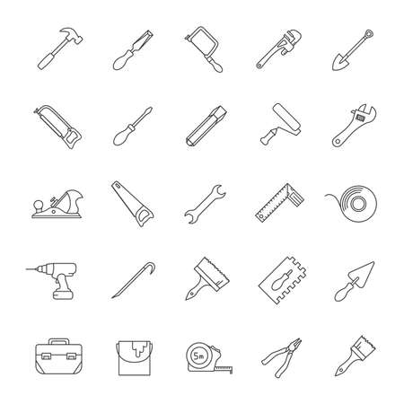 crowbar: Construction tools linear icons set. Renovation and repair instruments. Spanner, shovel, hammer, paint brush, crowbar. Thin line contour symbols. Isolated vector outline illustrations