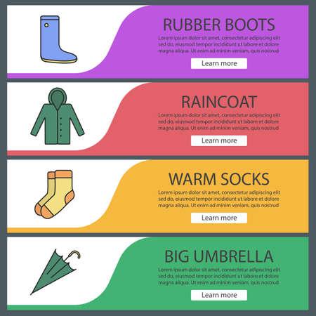 Autumn clothes web banner templates set. Rubber boot, raincoat, warm socks, umbrella. Website color menu items. Vector headers design concepts Ilustrace