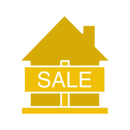 House for sale glyph color icon. Real estate market. Silhouette symbol on white background. Negative space. Vector illustration Illustration