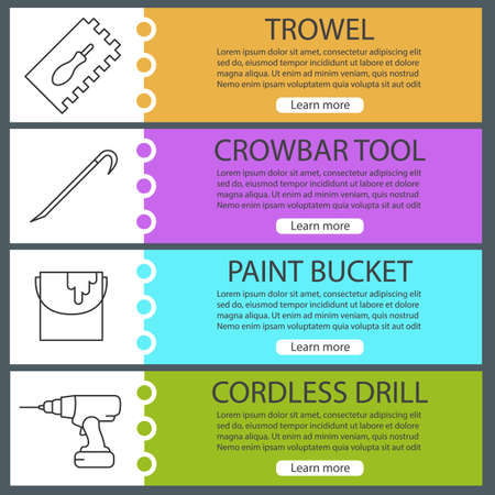 crowbar: Construction tools web banner templates set. Rectangular notched trowel, paint bucket, crowbar, cordless drill. Website color menu items with linear icons. Vector headers design concepts
