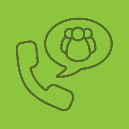 Group chat by phone linear icon. Handset with group of people inside chat box. Thin line outline symbols on color background. Vector illustration