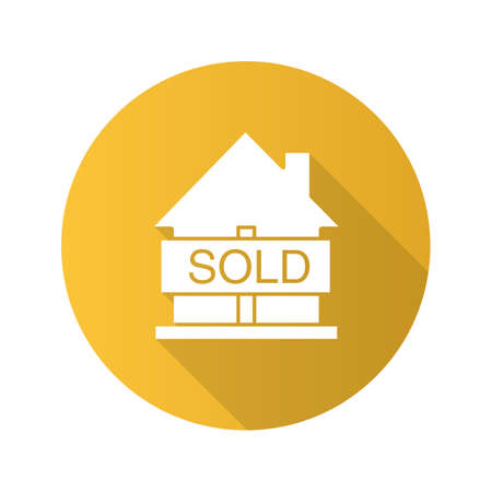 real estate sold: Sold house flat design long shadow glyph icon. Real estate purchase. House with sold sign. Vector silhouette illustration