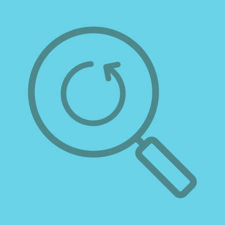 Refresh search linear icon. Magnifying glass with reload arrow. Thick line outline symbols on color background. Vector illustration