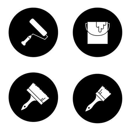 Painting tools glyph icons set. Paint brushes, bucket, roller. Vector white silhouettes illustrations in black circles Иллюстрация