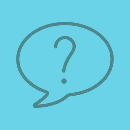 Question linear icon. Question mark inside chat bubble. Thin line outline symbols on color background. Vector illustration
