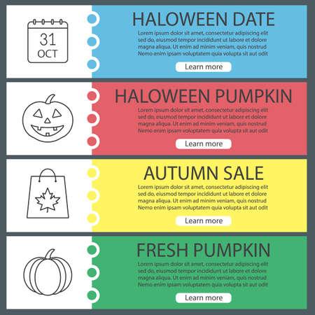 Halloween web banner templates set october 31 calendar pumpkins halloween web banner templates set october 31 calendar pumpkins shopping bag with maple maxwellsz