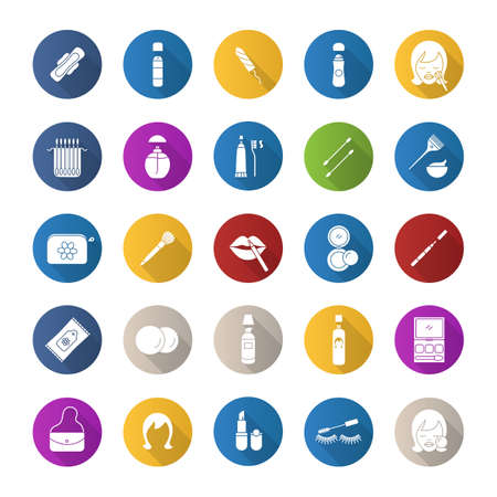 Cosmetics accessories flat design long shadow glyph icons set. Women goods. Hygienic care products. Toiletries. Makeup. Vector silhouette illustration Illustration