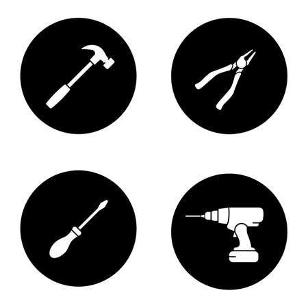 Construction tools glyph icons set. Hammer, nippers, screwdriver, cordless drill. Vector white silhouettes illustrations in black circles Çizim