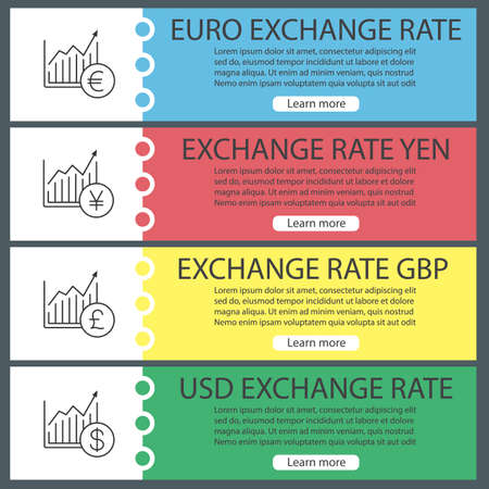 currencies exchange rates web banner templates set market growth charts with us dollar pound