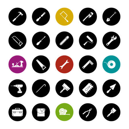 Construction tools glyph icons set. Renovation and repair instruments. Spanner, shovel, hammer, paint brush, measuring tape, chisel, crowbar. Vector white silhouettes illustrations in black circles