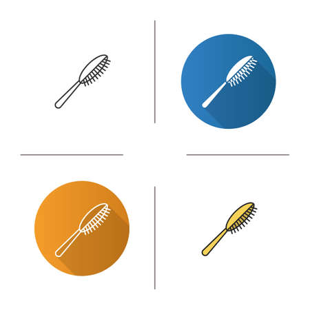 Hair brush icon. Flat design, linear and color styles. Isolated vector illustrations