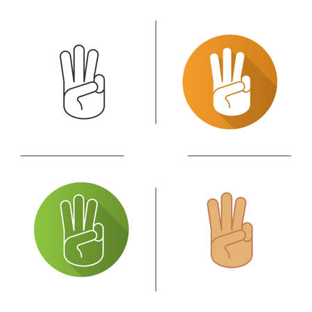 oath: Three fingers up icon. Flat design, linear and color styles. Scout promise sign. Isolated vector illustrations Illustration
