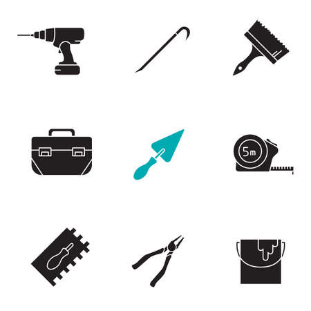 crowbar: Construction tools glyph icons set. Silhouette symbols. Cordless drill, crowbar, paint brush and bucket , tool box, triangular shovel, measuring tape, nippers. Vector isolated illustration Illustration