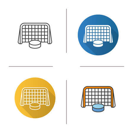hockey goal: Hockey goal icon. Flat design, linear and color styles. Ice hockey gate and puck. Isolated vector illustrations