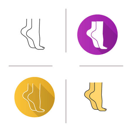 Womans feet standing on tiptoe icon. Flat design, linear and color styles. Isolated vector illustrations