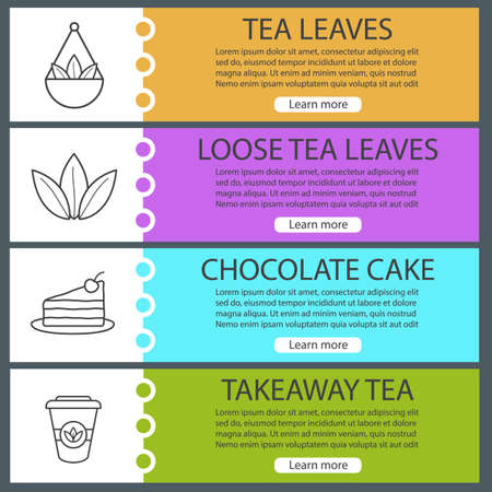Tea web banner templates set. Loose leaves in bulk, chocolate cake, takeaway paper cup. Website color menu items with linear icons. Vector headers design concepts Illustration