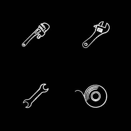 Construction tools chalk icons set. Monkey wrench, spanners, adhesive tape roll. Isolated vector chalkboard illustrations