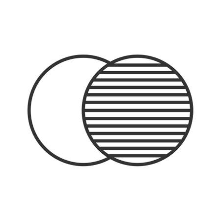 doubling: Overlapping linear icon. Thin line illustration. Convergence abstract metaphor. Contour symbol. Vector isolated outline drawing