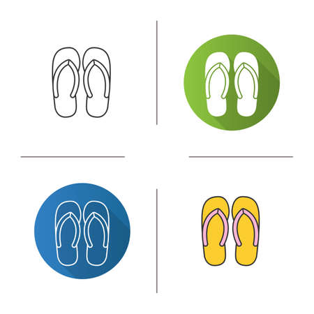 flip flops: Flip flops icon. Flat design, linear and color styles. Summer slippers. Isolated vector illustrations Illustration