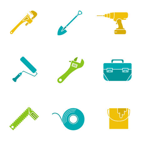 Construction tools glyph color icon set. Monkey wrench, cordless drill, paint roller and bucket, tool box, set square. Silhouette symbols on white backgrounds. Negative space. Vector illustrations