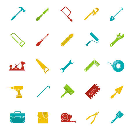 Construction tools glyph color icon set. Silhouette symbols on black backgrounds. Renovation and repair instruments. Spanner, shovel, hammer, paint brush, crowbar. Negative space. Vector illustrations 일러스트