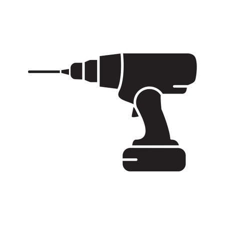 Cordless drill glyph icon. Silhouette symbol. Electric screwdriver. Negative space. Vector isolated illustration
