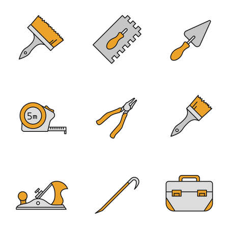 Construction tools color icons set. Paint brushes, rectangular notched trowel, triangular shovel, measuring tape, nippers, jack plane, crowbar, tool box. Isolated vector illustrations Illustration